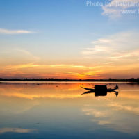 Boat in Matian haor, Sunamganj at sunset
