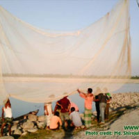 Sun drying of net after fishing