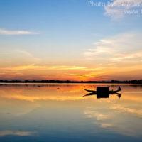 Boat in Matian haor, Sunamganj at sunset